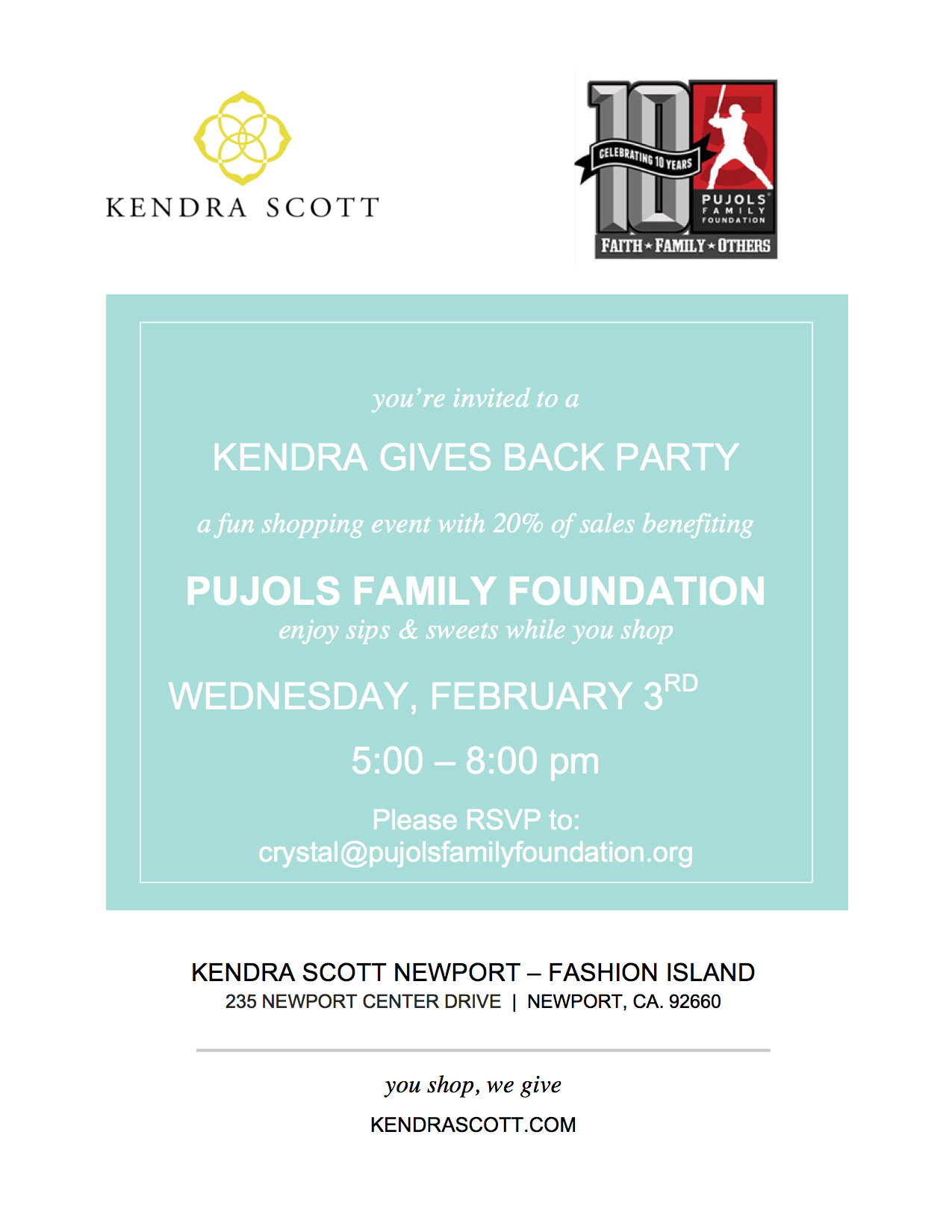 Pujols Family Foundation Invite.KendraScott