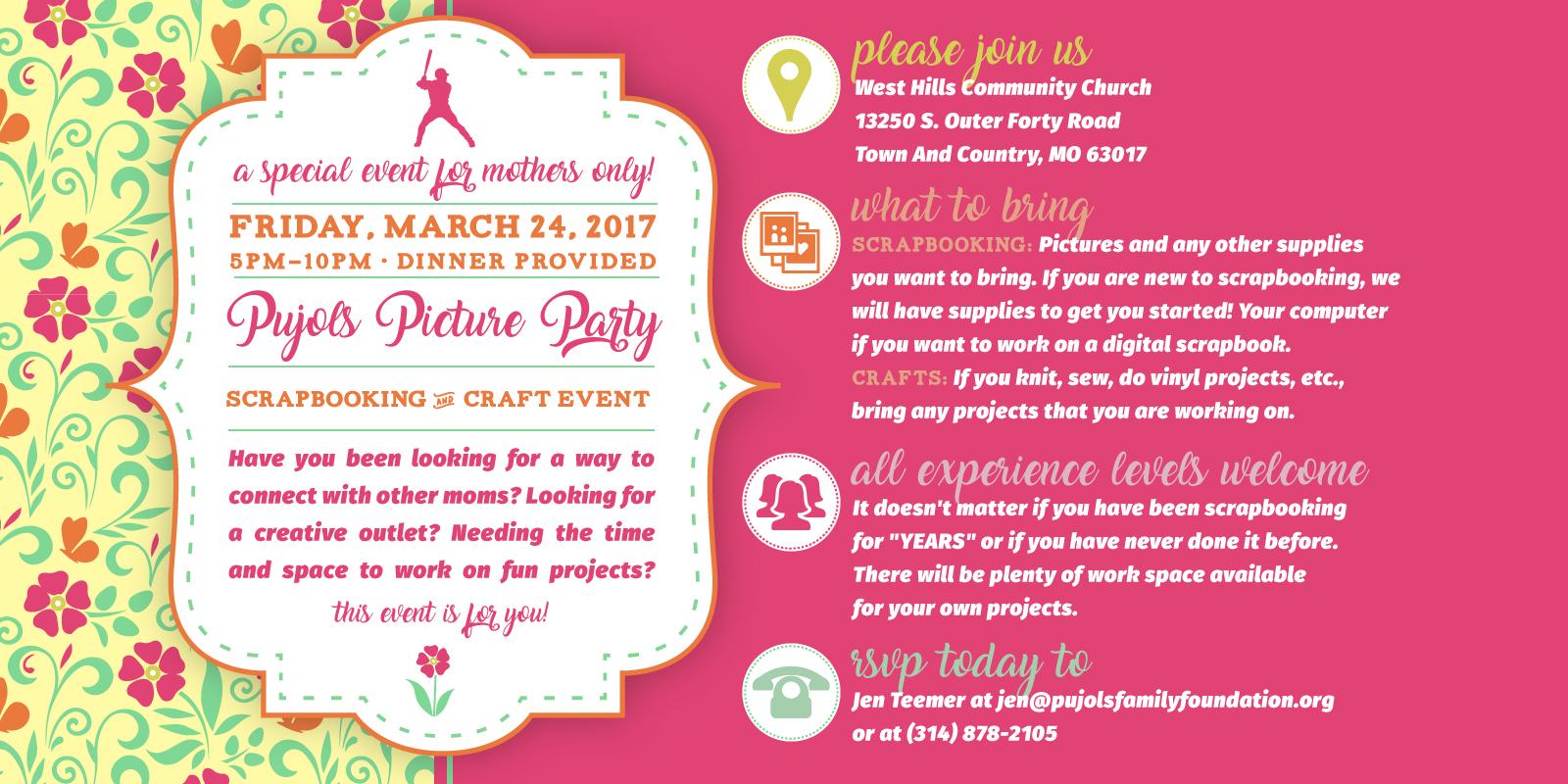 2017 Pujols Picture Party Invitation